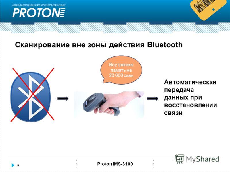 6 Proton IMS-3100 Сканирование вне зоны действия Bluetooth Внутренняя память на 20 000 скан Автоматическая передача данных при восстановлении связи