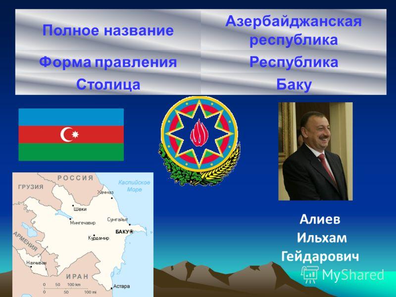 Полное название Азербайджанская республика Форма правленияРеспублика СтолицаБаку Алиев Ильхам Гейдарович