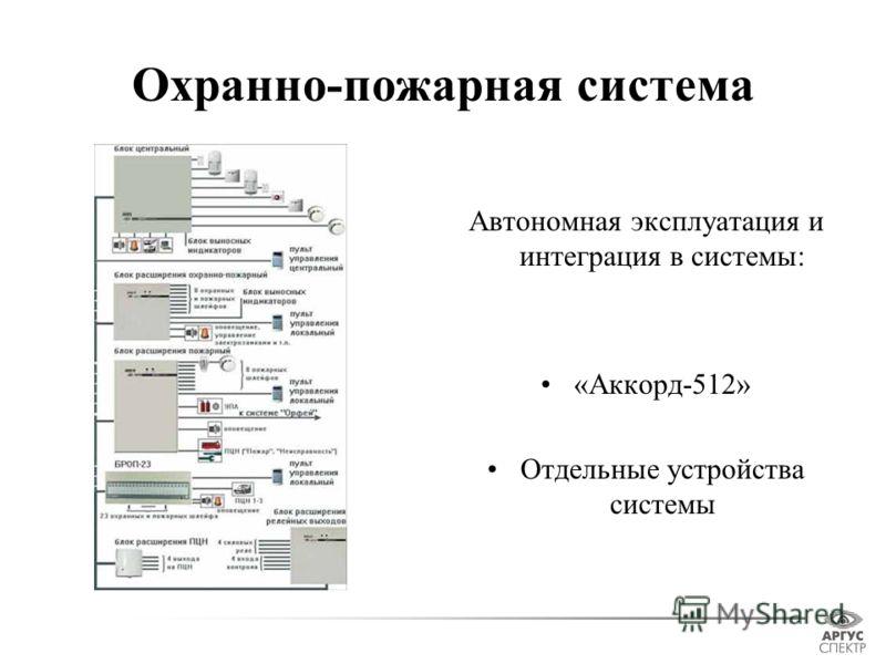 Охранно-пожарная система Автономная эксплуатация и интеграция в системы: «Аккорд-512» Отдельные устройства системы