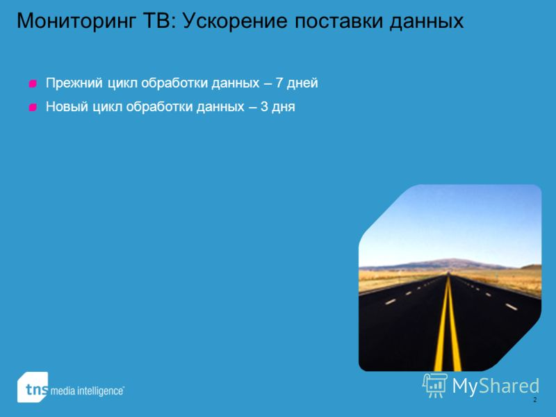 2 Мониторинг ТВ: Ускорение поставки данных Прежний цикл обработки данных – 7 дней Новый цикл обработки данных – 3 дня