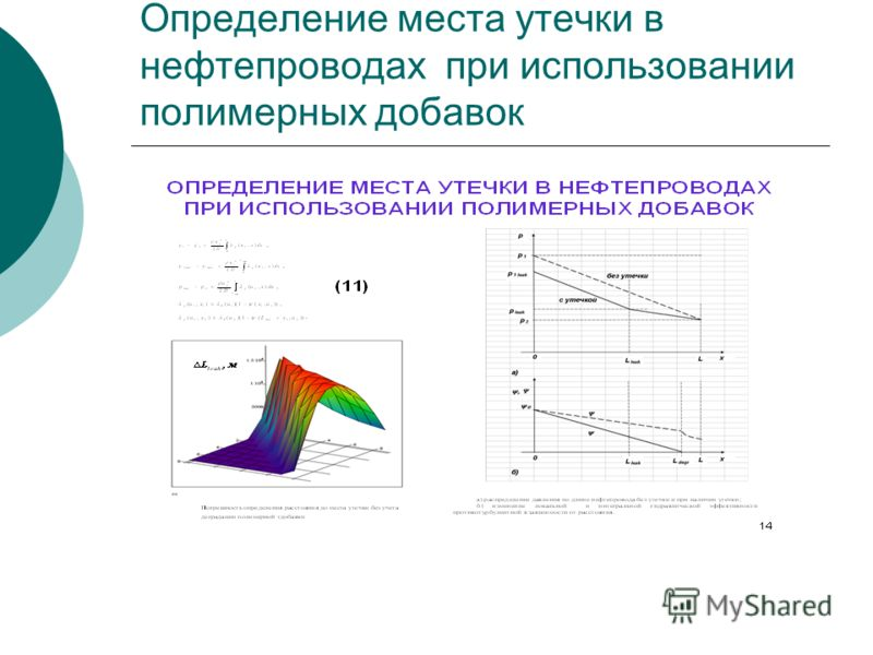 Определение места утечки в нефтепроводах при использовании полимерных добавок