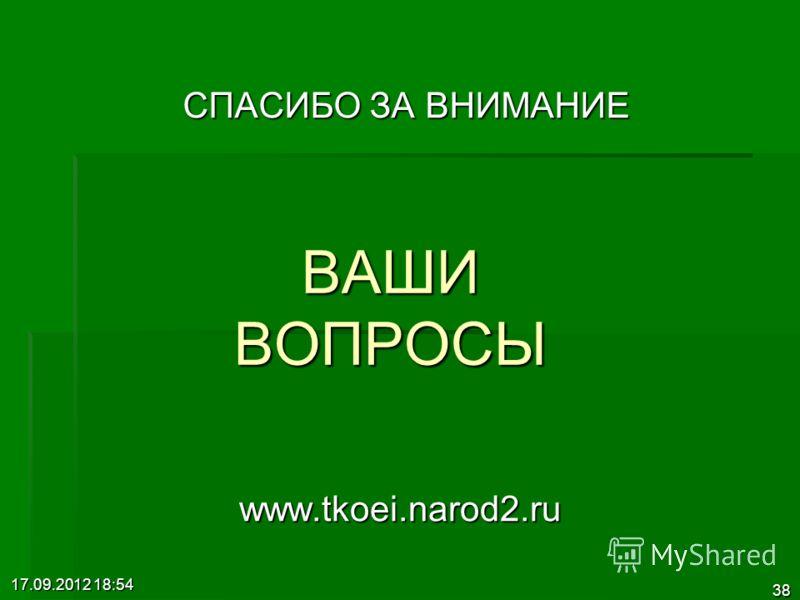 17.09.2012 18:55 38 ВАШИ ВОПРОСЫ СПАСИБО ЗА ВНИМАНИЕ www.tkoei.narod2.ru