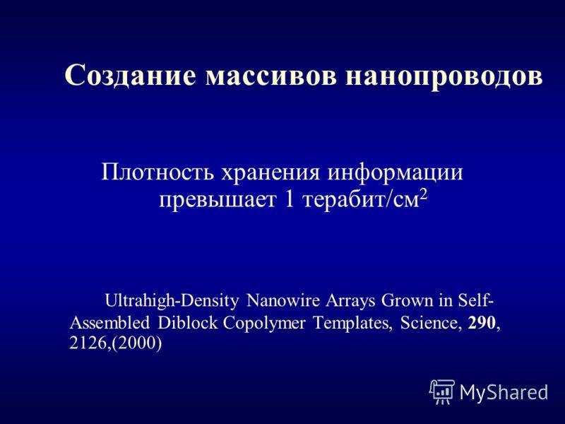 Создание массивов нанопроводов Плотность хранения информации превышает 1 терабит/см 2 Ultrahigh-Density Nanowire Arrays Grown in Self- Assembled Diblock Copolymer Templates, Science, 290, 2126,(2000)