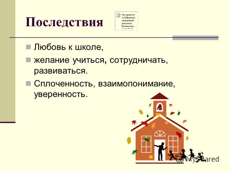 Последствия Любовь к школе, желание учиться, сотрудничать, развиваться. Сплоченность, взаимопонимание, уверенность.