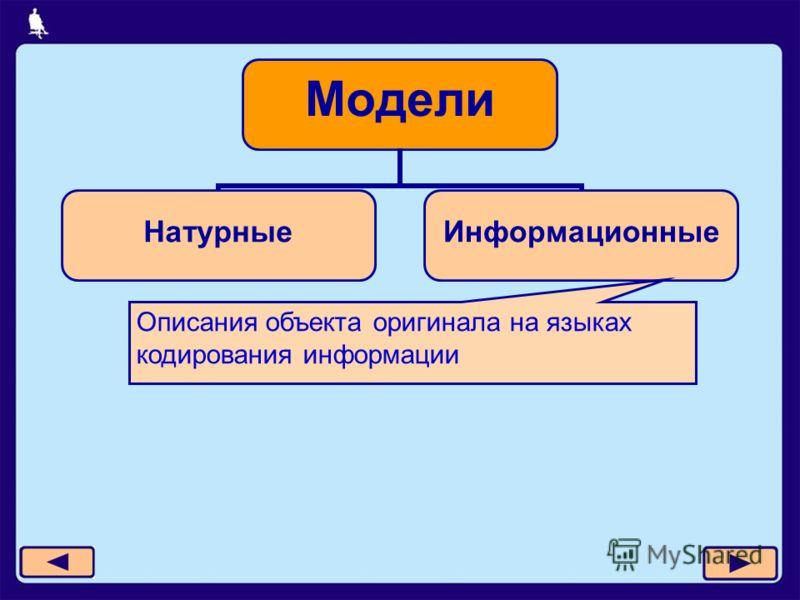 Модели НатурныеИнформационные Описания объекта оригинала на языках кодирования информации