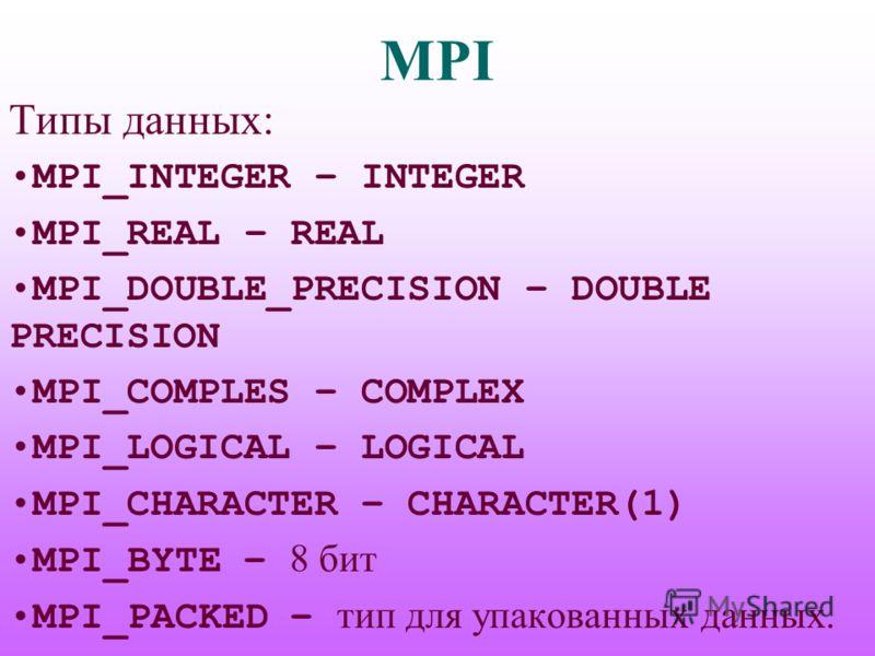 MPI Типы данных: MPI_INTEGER – INTEGER MPI_REAL – REAL MPI_DOUBLE_PRECISION – DOUBLE PRECISION MPI_COMPLES – COMPLEX MPI_LOGICAL – LOGICAL MPI_CHARACTER – CHARACTER(1) MPI_BYTE – 8 бит MPI_PACKED – тип для упакованных данных.