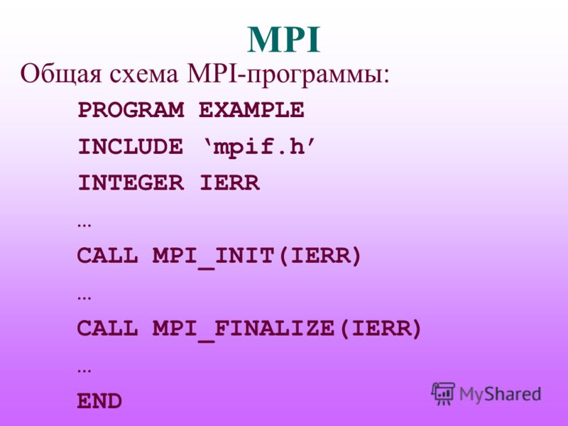 MPI Общая схема MPI-программы: PROGRAM EXAMPLE INCLUDE mpif.h INTEGER IERR … CALL MPI_INIT(IERR) … CALL MPI_FINALIZE(IERR) … END