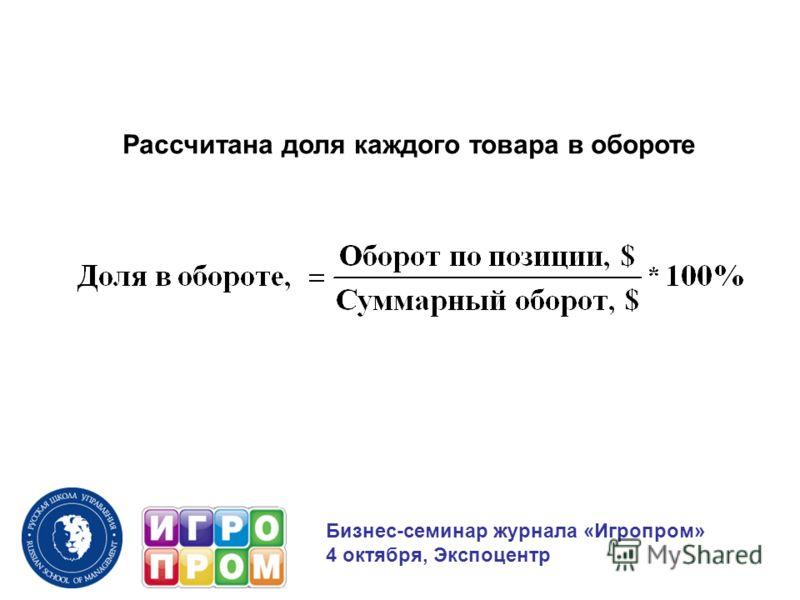 Рассчитана доля каждого товара в обороте Бизнес-семинар журнала «Игропром» 4 октября, Экспоцентр