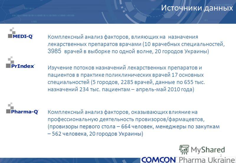 2 Комплексный анализ факторов, влияющих на назначения лекарственных препаратов врачами (10 врачебных специальностей, 3985 врачей в выборке по одной волне, 20 городов Украины) Комплексный анализ факторов, оказывающих влияние на профессиональную деятел