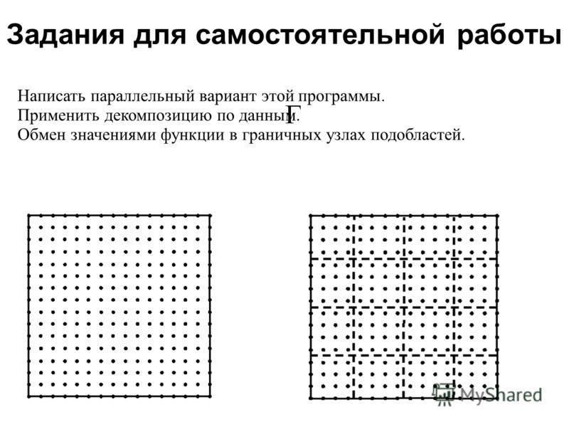 Задания для самостоятельной работы 2008 Написать параллельный вариант этой программы. Применить декомпозицию по данным. Обмен значениями функции в граничных узлах подобластей.