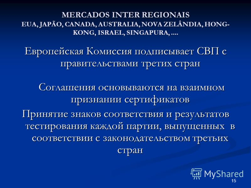 15 MERCADOS INTER REGIONAIS EUA, JAPÃO, CANADA, AUSTRALIA, NOVA ZELÂNDIA, HONG- KONG, ISRAEL, SINGAPURA,.... Европейская Комиссия подписывает СВП с правительствами третих стран Соглашения основываются на взаимном признании сертификатов Принятие знако