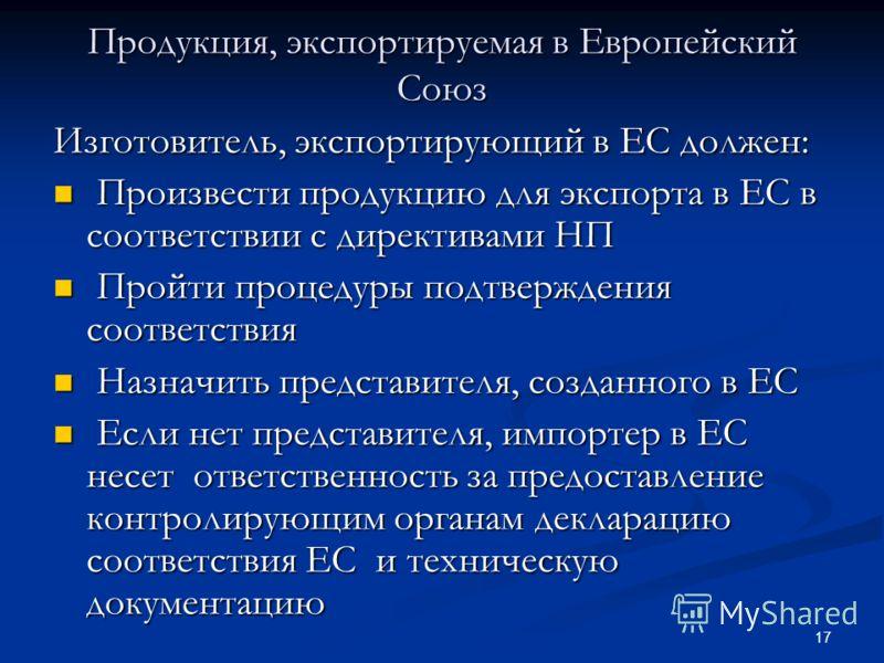 17 Продукция, экспортируемая в Европейский Союз Изготовитель, экспортирующий в ЕС должен: Произвести продукцию для экспорта в ЕС в соответствии с директивами НП Произвести продукцию для экспорта в ЕС в соответствии с директивами НП Пройти процедуры п