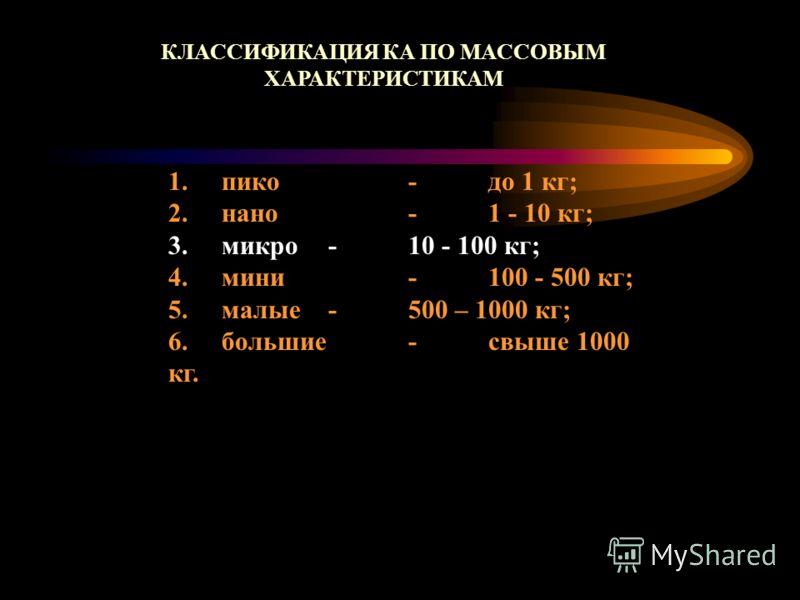 1. пико - до 1 кг; 2. нано -1 - 10 кг; 3. микро - 10 - 100 кг; 4. мини - 100 - 500 кг; 5. малые -500 – 1000 кг; 6. большие - свыше 1000 кг. КЛАССИФИКАЦИЯ КА ПО МАССОВЫМ ХАРАКТЕРИСТИКАМ