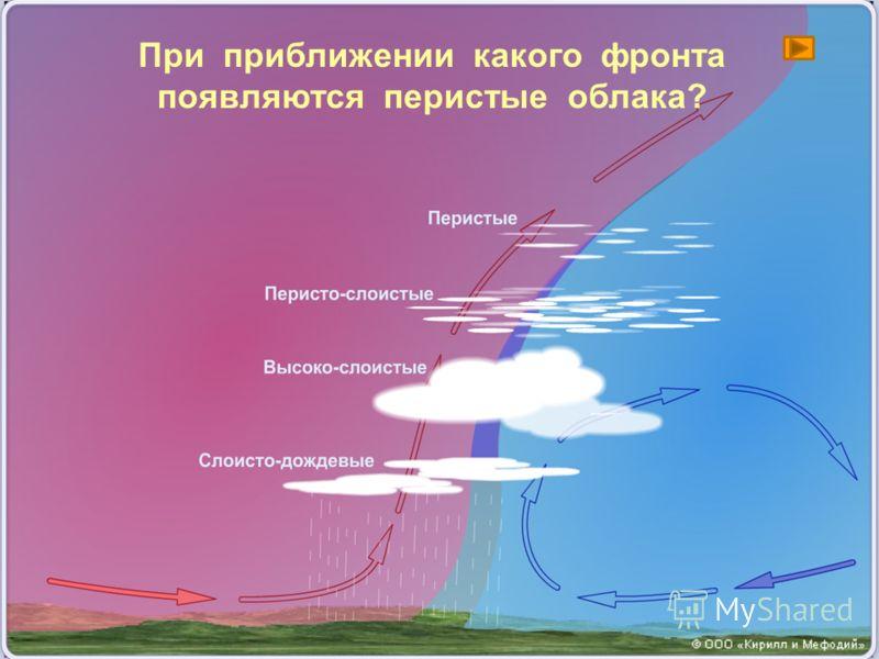 Холодный фронтТёплый фронт 1. Образуется при вторжении холодного воздуха в область, занятую тёплым. 2. Проникает клином, выталкивая ТВ вверх. 3. Погода меняется быстро. Ливень, гроза, шквалистый ветер. 4. После прохождения фронта похолодание. 1.Образ