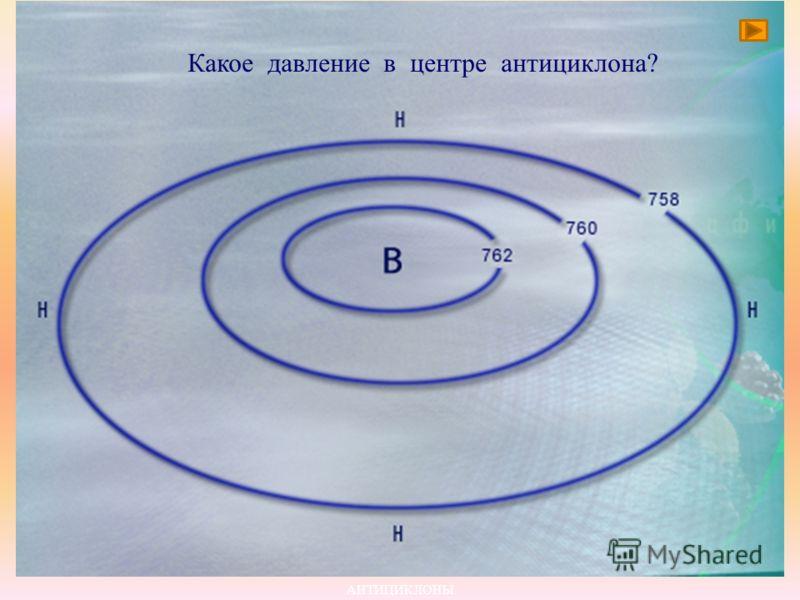 Антициклоны имеют самое высокое давление в центре вихря. Воздух начинает движение из центра к краям. Из-за отклоняющего действия вращения Земли воздух отклоняется и закручивается по часовой стрелке. В центральной части воздух опускается, растекается