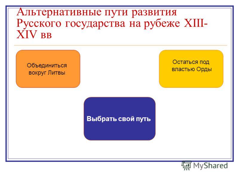 Объединиться вокруг Литвы Остаться под властью Орды Выбрать свой путь Альтернативные пути развития Русского государства на рубеже XIII- XIV вв