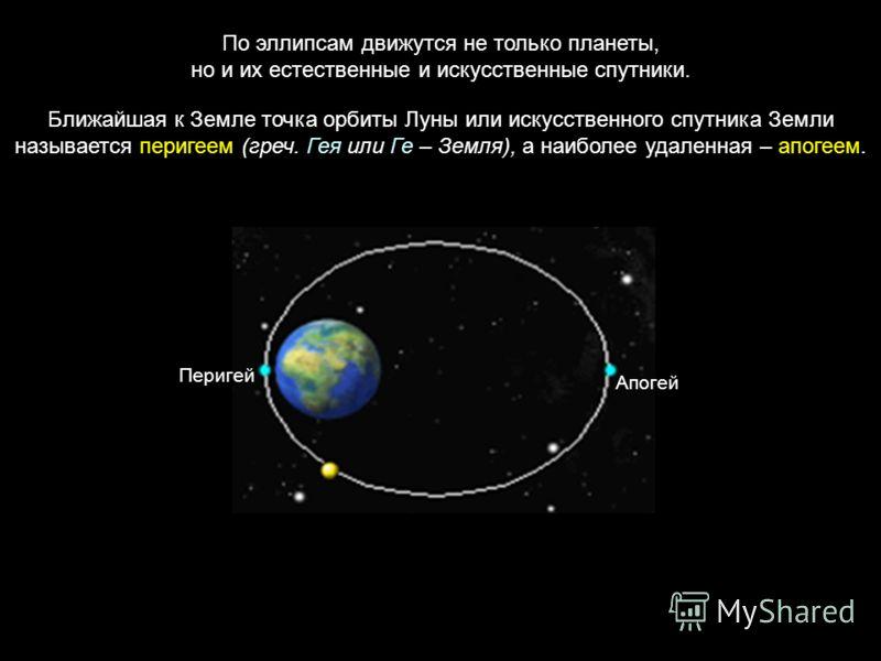 По эллипсам движутся не только планеты, но и их естественные и искусственные спутники. Ближайшая к Земле точка орбиты Луны или искусственного спутника Земли называется перигеем (греч. Гея или Ге – Земля), а наиболее удаленная – апогеем. Перигей Апоге