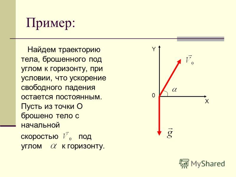 Пример: Найдем траекторию тела, брошенного под углом к горизонту, при условии, что ускорение свободного падения остается постоянным. Пусть из точки О брошено тело с начальной скоростью под углом к горизонту. 0 Y X