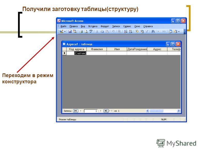 Переходим в режим конструктора Получили заготовку таблицы(структуру)