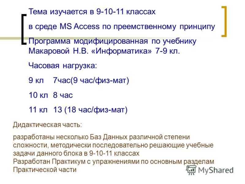 Тема изучается в 9-10-11 классах в среде MS Access по преемственному принципу Программа модифицированная по учебнику Макаровой Н.В. «Информатика» 7-9 кл. Часовая нагрузка: 9 кл7час(9 час/физ-мат) 10 кл8 час 11 кл13 (18 час/физ-мат) Дидактическая част