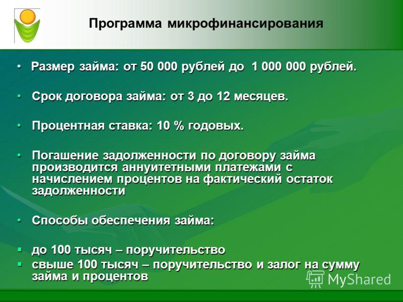 Размер займа: от 50 000 рублей до 1 000 000 рублей. Размер займа: от 50 000 рублей до 1 000 000 рублей. Срок договора займа: от 3 до 12 месяцев.Срок договора займа: от 3 до 12 месяцев. Процентная ставка: 10 % годовых.Процентная ставка: 10 % годовых.