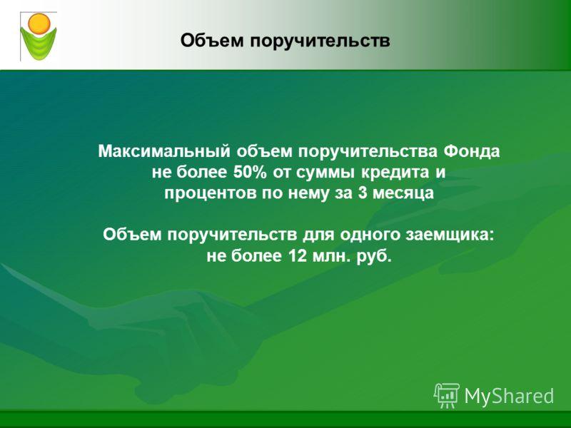 Объем поручительств Максимальный объем поручительства Фонда не более 50% от суммы кредита и процентов по нему за 3 месяца Объем поручительств для одного заемщика: не более 12 млн. руб.