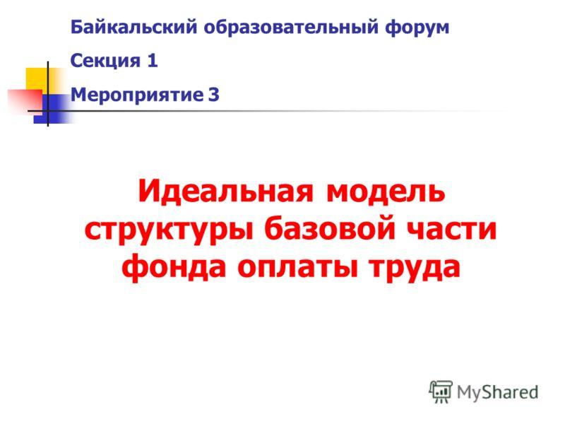 Байкальский образовательный форум Секция 1 Мероприятие 3 Идеальная модель структуры базовой части фонда оплаты труда