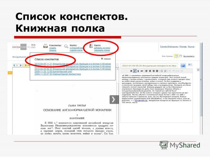 Список конспектов. Книжная полка