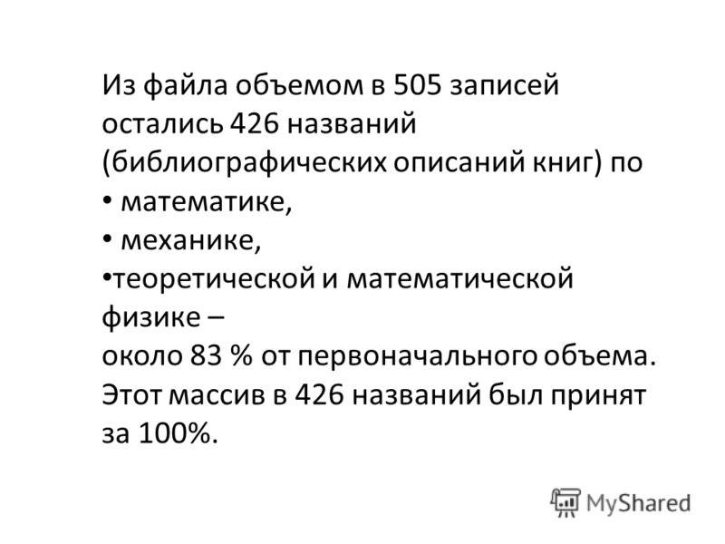 Из файла объемом в 505 записей остались 426 названий (библиографических описаний книг) по математике, механике, теоретической и математической физике – около 83 % от первоначального объема. Этот массив в 426 названий был принят за 100%.
