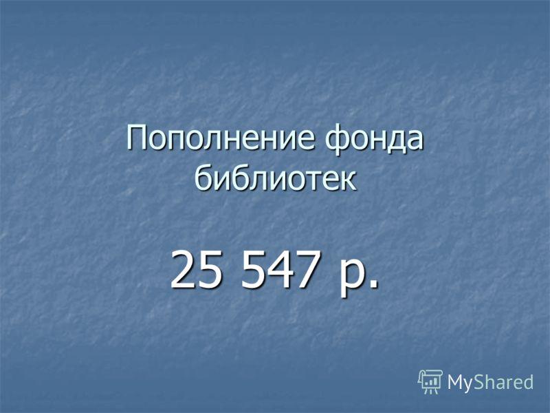 Пополнение фонда библиотек 25 547 р.