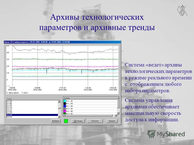 Архивы технологических параметров и архивные тренды Система «ведет» архивы технологических параметров в режиме реального времени с отображением любого набора параметров. Система управления архивами обеспечивает максимальную скорость доступа к информа