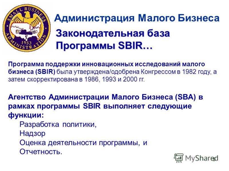 5 Администрация Малого Бизнеса Законодательная база Программы SBIR… Программа поддержки инновационных исследований малого бизнеса (SBIR) была утверждена/одобрена Конгрессом в 1982 году, а затем скорректирована в 1986, 1993 и 2000 гг. Агентство Админи