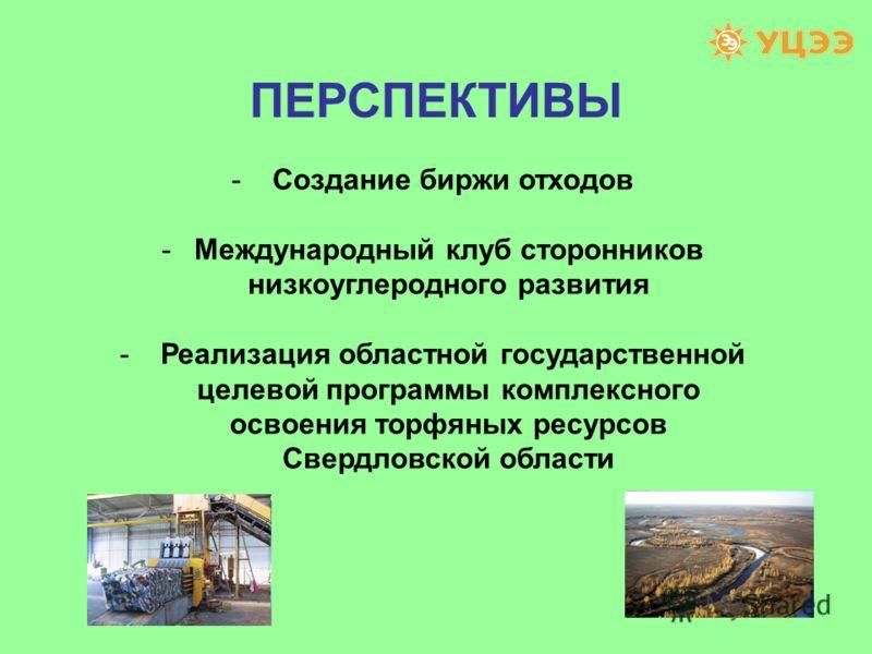 ПЕРСПЕКТИВЫ - Создание биржи отходов -Международный клуб сторонников низкоуглеродного развития - Реализация областной государственной целевой программы комплексного освоения торфяных ресурсов Свердловской области
