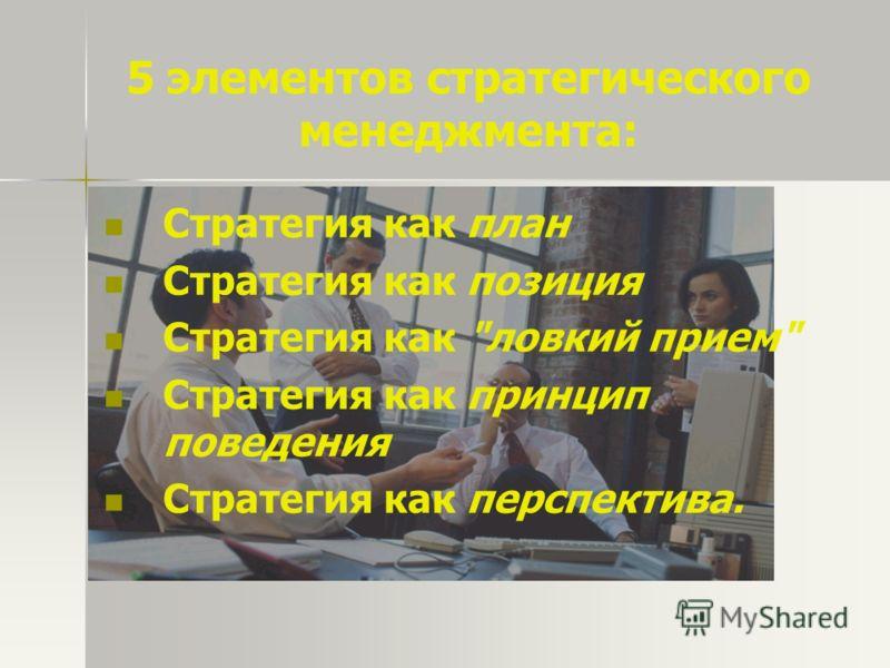 5 элементов стратегического менеджмента: Стратегия как план Стратегия как позиция Стратегия как ловкий прием Стратегия как принцип поведения Стратегия как перспектива.