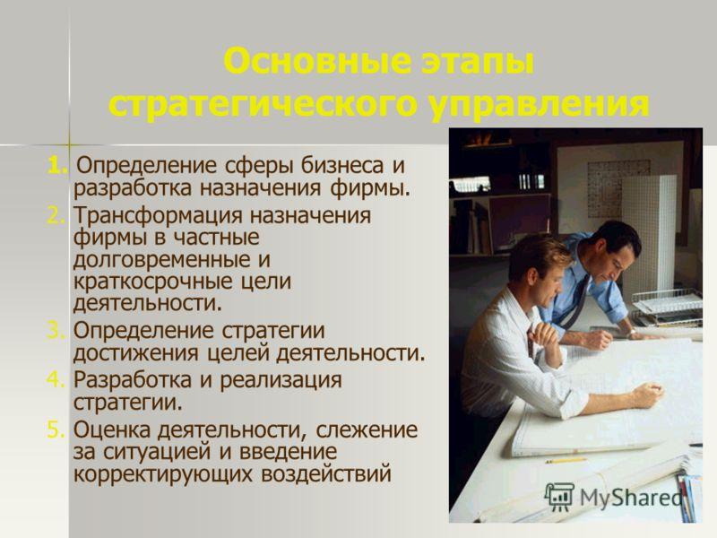Основные этапы стратегического управления 1. Определение сферы бизнеса и разработка назначения фирмы. 2. Трансформация назначения фирмы в частные долговременные и краткосрочные цели деятельности. 3. Определение стратегии достижения целей деятельности