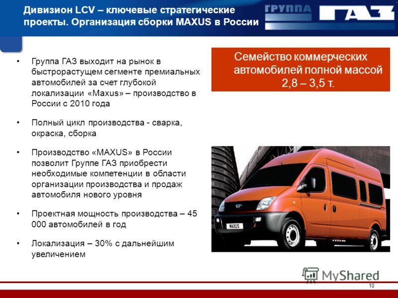 10 Дивизион LCV – ключевые стратегические проекты. Организация сборки MAXUS в России Группа ГАЗ выходит на рынок в быстрорастущем сегменте премиальных автомобилей за счет глубокой локализации «Maxus» – производство в России с 2010 года Полный цикл пр