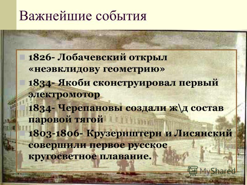 Важнейшие события 1826- Лобачевский открыл «неэвклидову геометрию» 1834- Якоби сконструировал первый электромотор 1834- Черепановы создали ж\д состав паровой тягой 1803-1806- Крузернштерн и Лисянский совершили первое русское кругосветное плавание.