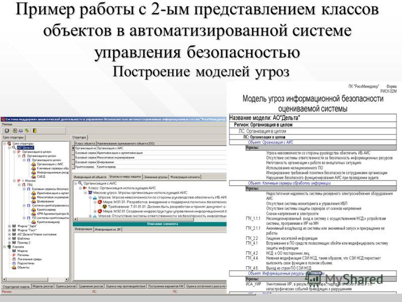 Пример работы с 2-ым представлением классов объектов в автоматизированной системе управления безопасностью Построение моделей угроз Построение моделей угроз