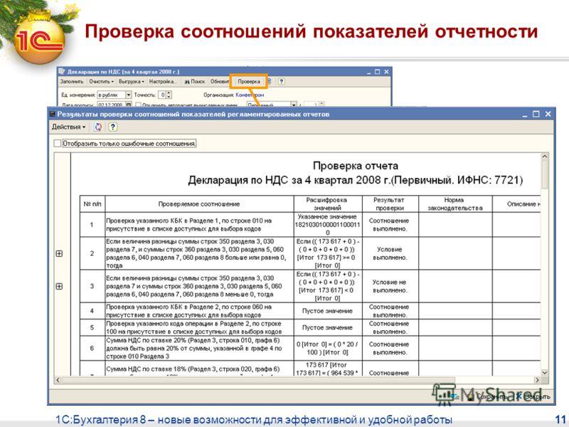 1С:Бухгалтерия 8 – новые возможности для эффективной и удобной работы 11 Проверка соотношений показателей отчетности