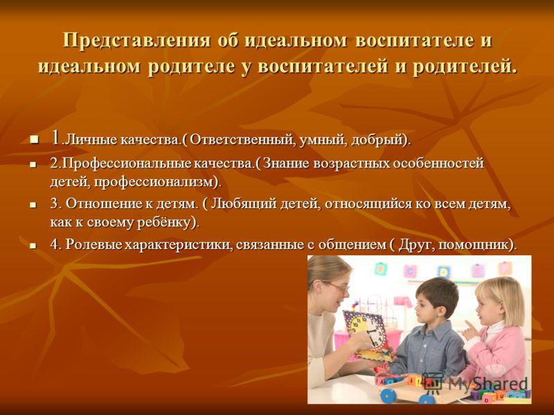 Представления об идеальном воспитателе и идеальном родителе у воспитателей и родителей. 1.Личные качества.( Ответственный, умный, добрый). 1.Личные качества.( Ответственный, умный, добрый). 2.Профессиональные качества.( Знание возрастных особенностей