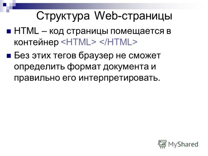 HTML – код страницы помещается в контейнер Без этих тегов браузер не сможет определить формат документа и правильно его интерпретировать. Структура Web-страницы