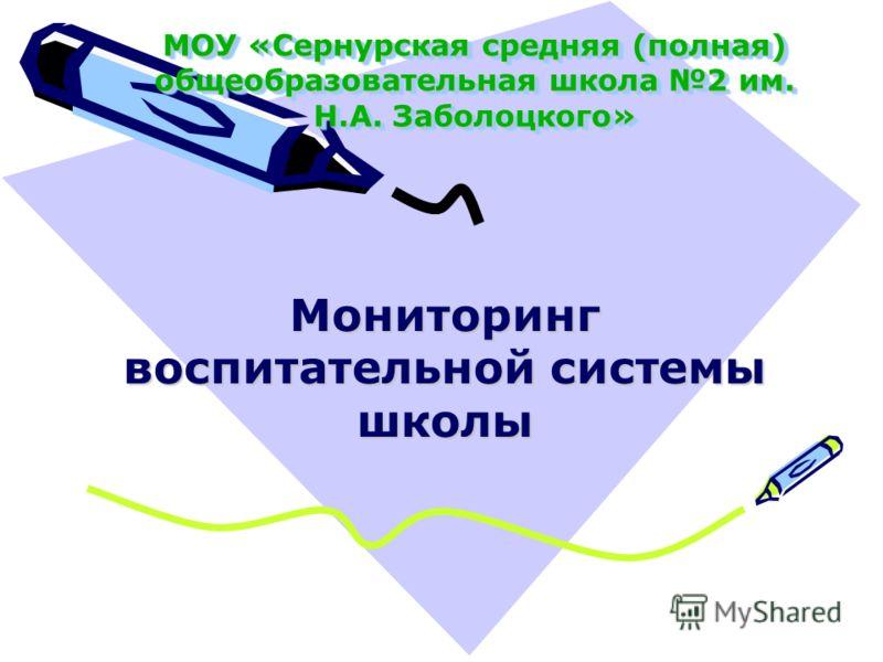 МОУ «Сернурская средняя (полная) общеобразовательная школа 2 им. Н.А. Заболоцкого» Мониторинг воспитательной системы школы