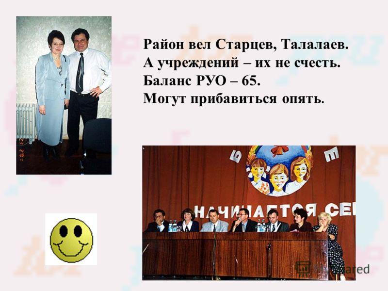 Район вел Старцев, Талалаев. А учреждений – их не счесть. Баланс РУО – 65. Могут прибавиться опять.