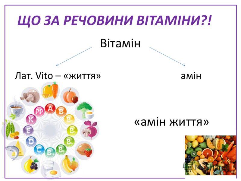 ЩО ЗА РЕЧОВИНИ ВІТАМІНИ?! Вітамін Лат. Vito – «життя» амін Амин «амін життя»