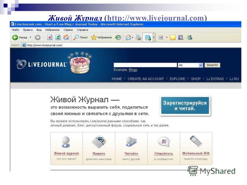 Живой Журнал (http://www.livejournal.com)http://www.livejournal.com пример успешного использования технологии блога. Сервис получил огромную популярность у российской аудитории. Каждый пользователь или каждое сообщества Живого Журнала формирует свою