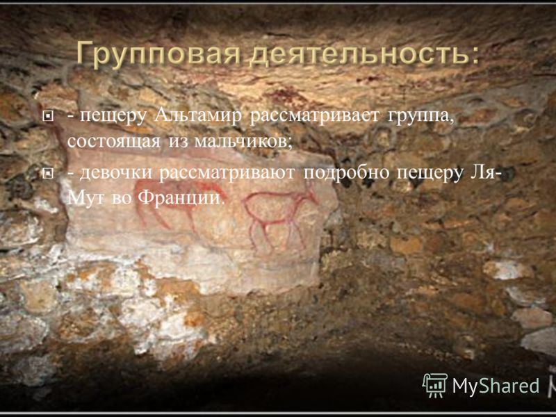- пещеру Альтамир рассматривает группа, состоящая из мальчиков ; - девочки рассматривают подробно пещеру Ля - Мут во Франции.