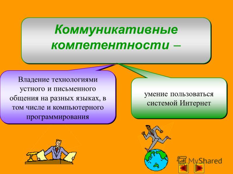 Владение технологиями устного и письменного общения на разных языках, в том числе и компьютерного программирования Коммуникативные компетентности – умение пользоваться системой Интернет