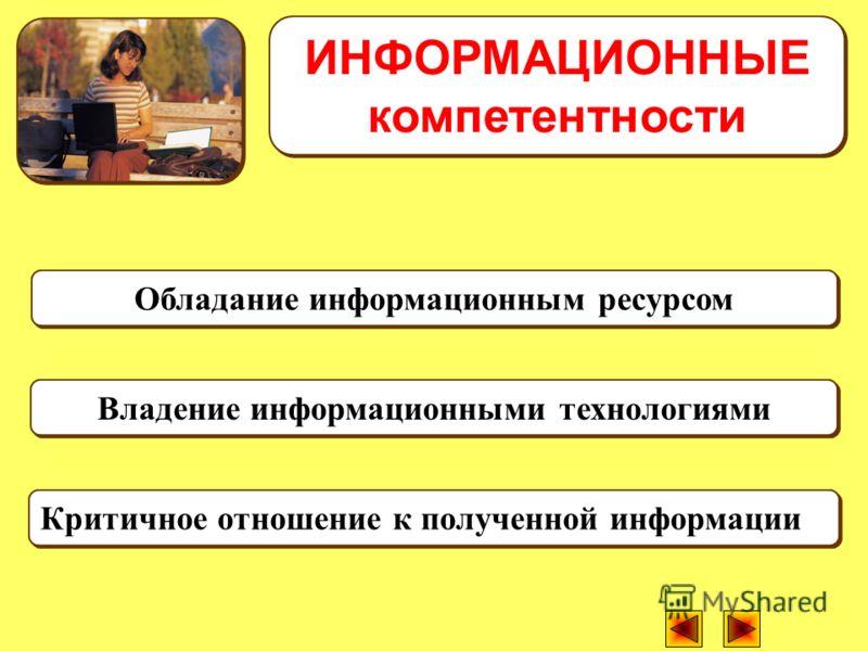Обладание информационным ресурсом Критичное отношение к полученной информации ИНФОРМАЦИОННЫЕ компетентности Владение информационными технологиями