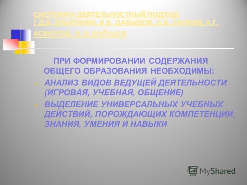 СИСТЕМНО-ДЕЯТЕЛЬНОСТНЫЙ ПОДХОД ( Д.Б. ЭЛЬКОНИН, В.В. ДАВЫДОВ, Л.В. ЗАНКОВ, А.Г. АСМОЛОВ, в.в.рубцов ПРИ ФОРМИРОВАНИИ СОДЕРЖАНИЯ ОБЩЕГО ОБРАЗОВАНИЯ НЕОБХОДИМЫ: АНАЛИЗ ВИДОВ ВЕДУЩЕЙ ДЕЯТЕЛЬНОСТИ (ИГРОВАЯ, УЧЕБНАЯ, ОБЩЕНИЕ) ВЫДЕЛЕНИЕ УНИВЕРСАЛЬНЫХ УЧЕБН