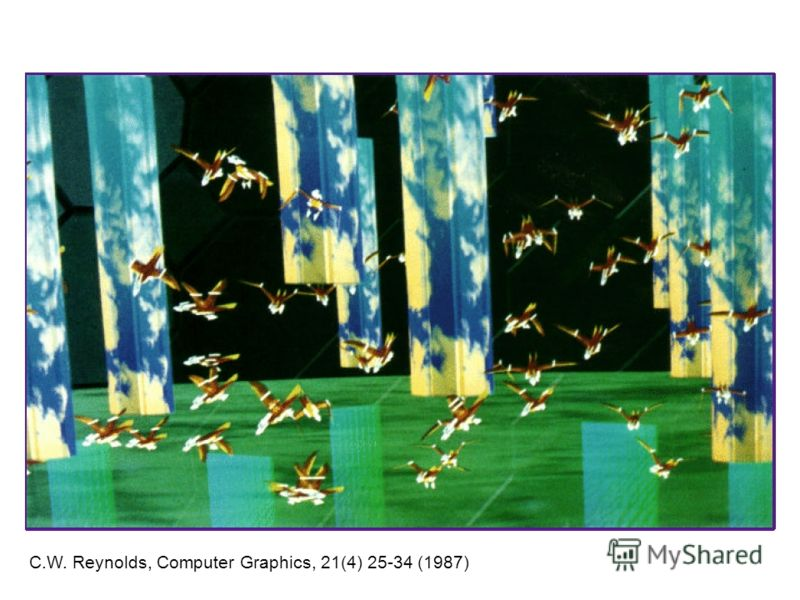 C.W. Reynolds, Computer Graphics, 21(4) 25-34 (1987)